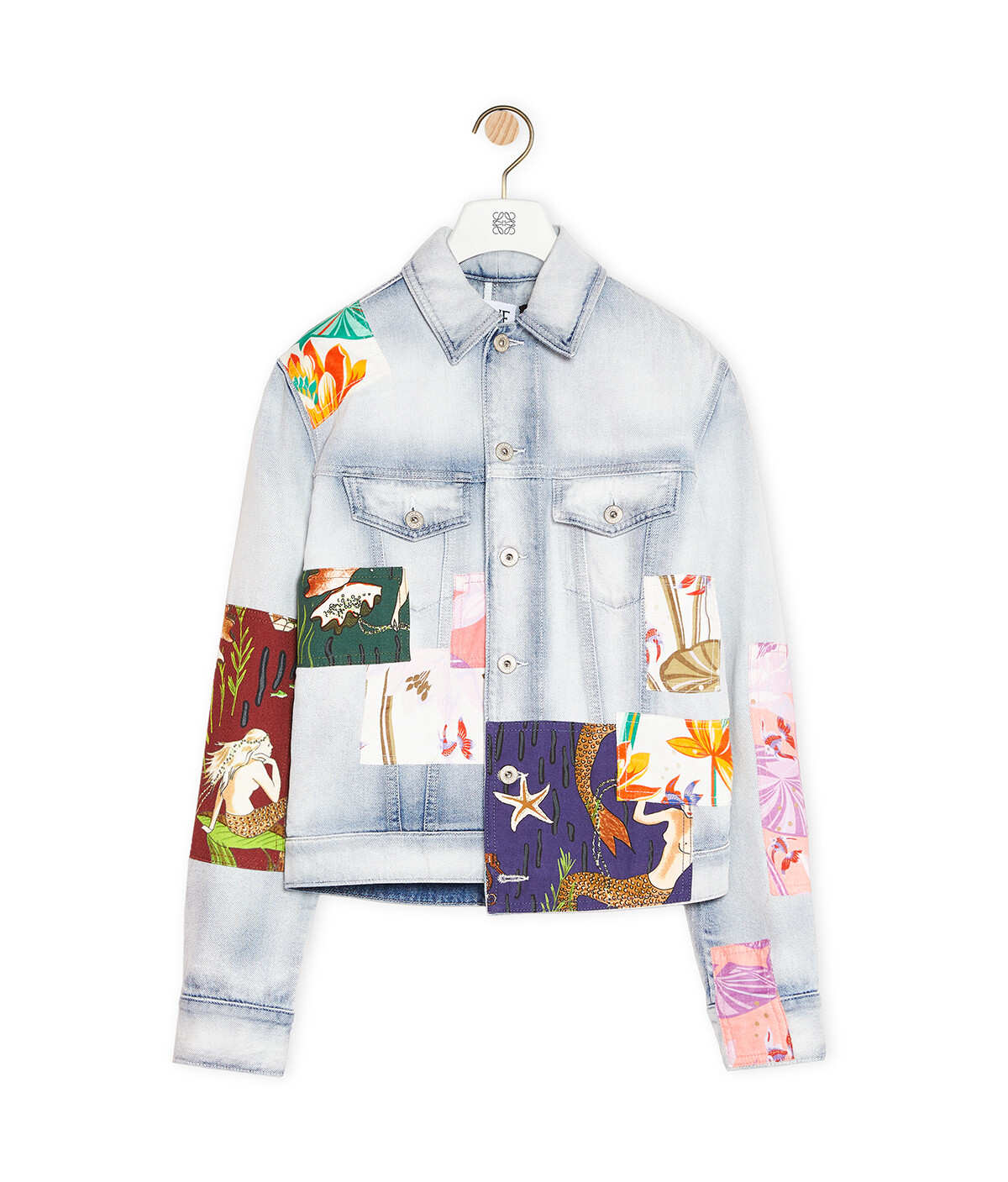 LOEWE Patched Jacket In Cotton Light Blue/Multicolor front