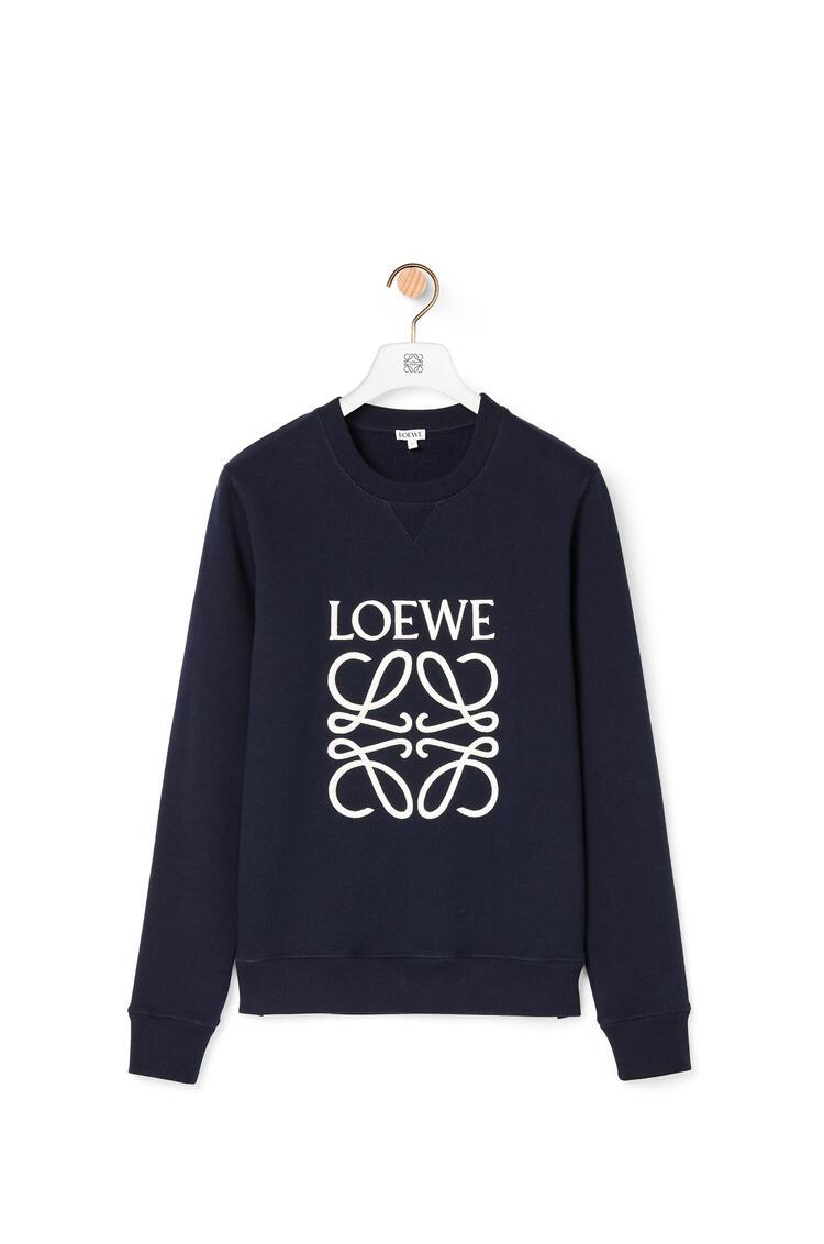 LOEWE LOEWE anagram embroidered sweatshirt in cotton Navy Blue pdp_rd