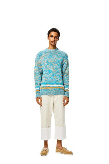 LOEWE Melange sweater in cotton Turquoise/Orange pdp_rd