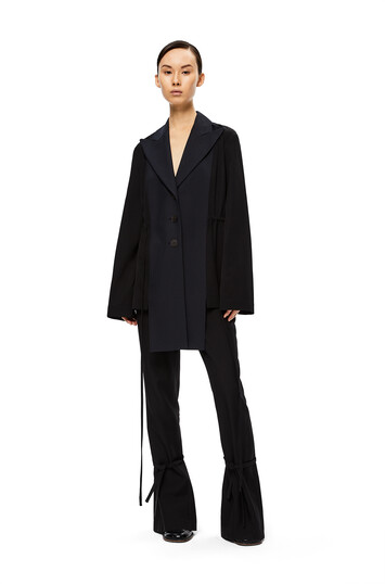 LOEWE Peak Lapel Bimaterial Jacket Black/Navy Blue front