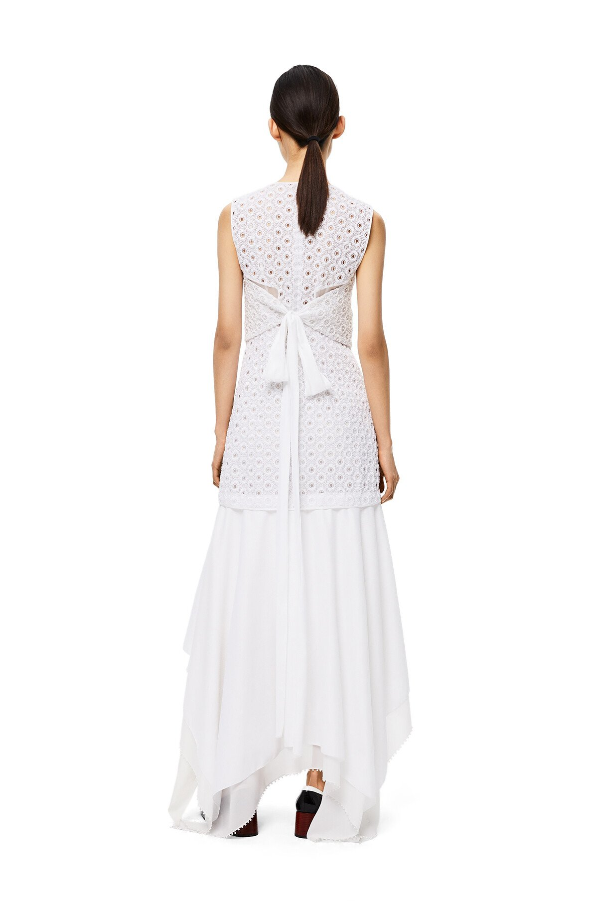 LOEWE Sleeveless Broderie Dress White front