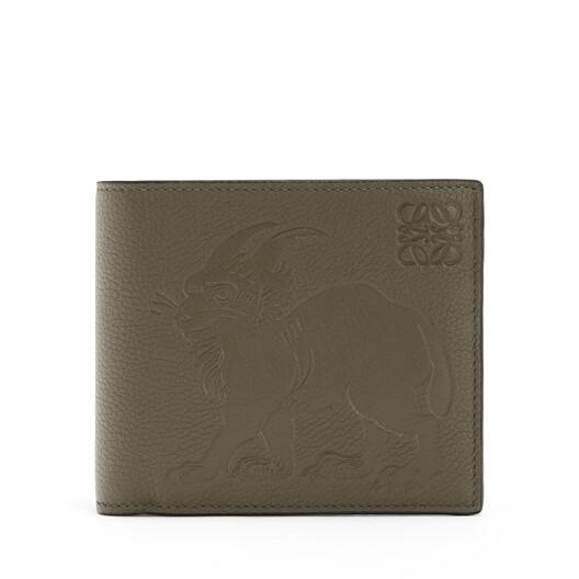 LOEWE Bifold Wallet Animals Khaki Green front