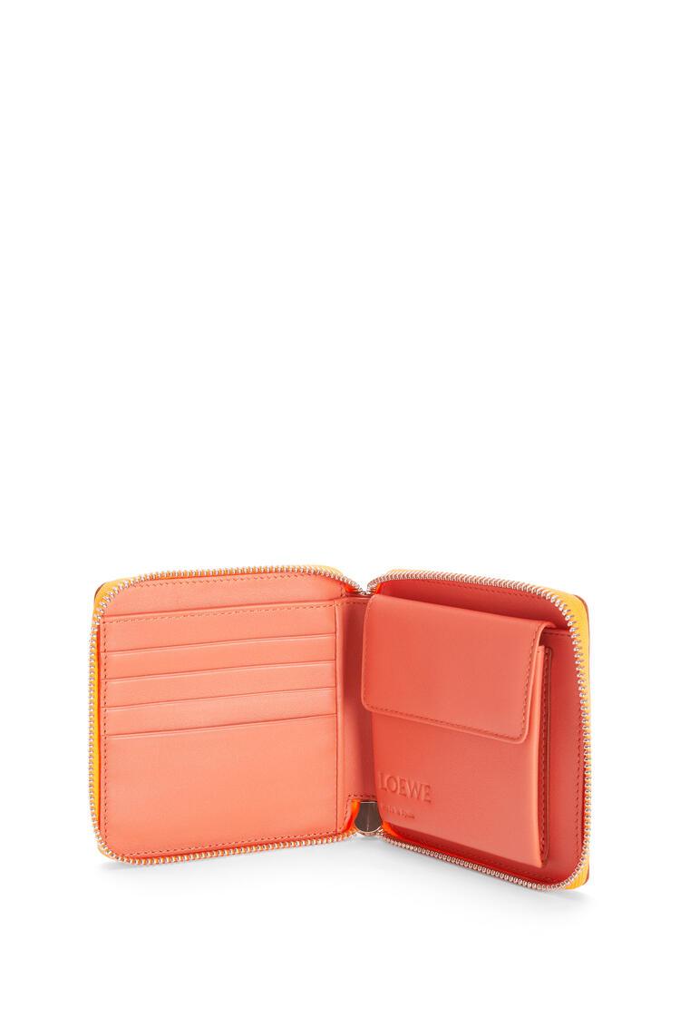 LOEWE Puzzle square zip wallet in classic calfskin Grapefruit/Mauve pdp_rd
