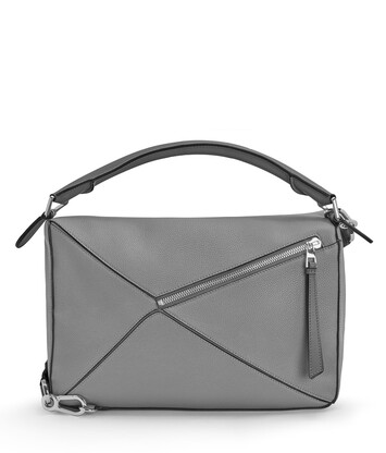 LOEWE Bolso Puzzle Grande Gris Metalico front