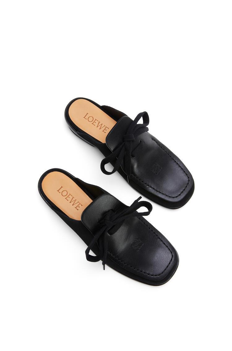 LOEWE 麂皮拼小牛皮繫帶穆勒鞋 黑色 pdp_rd