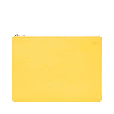 LOEWE Pouch Plano Mediano Queso Amarillo/Paladio front