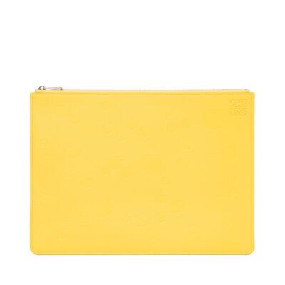 LOEWE Medium Flat Pouch Cheese Yellow/Palladium front