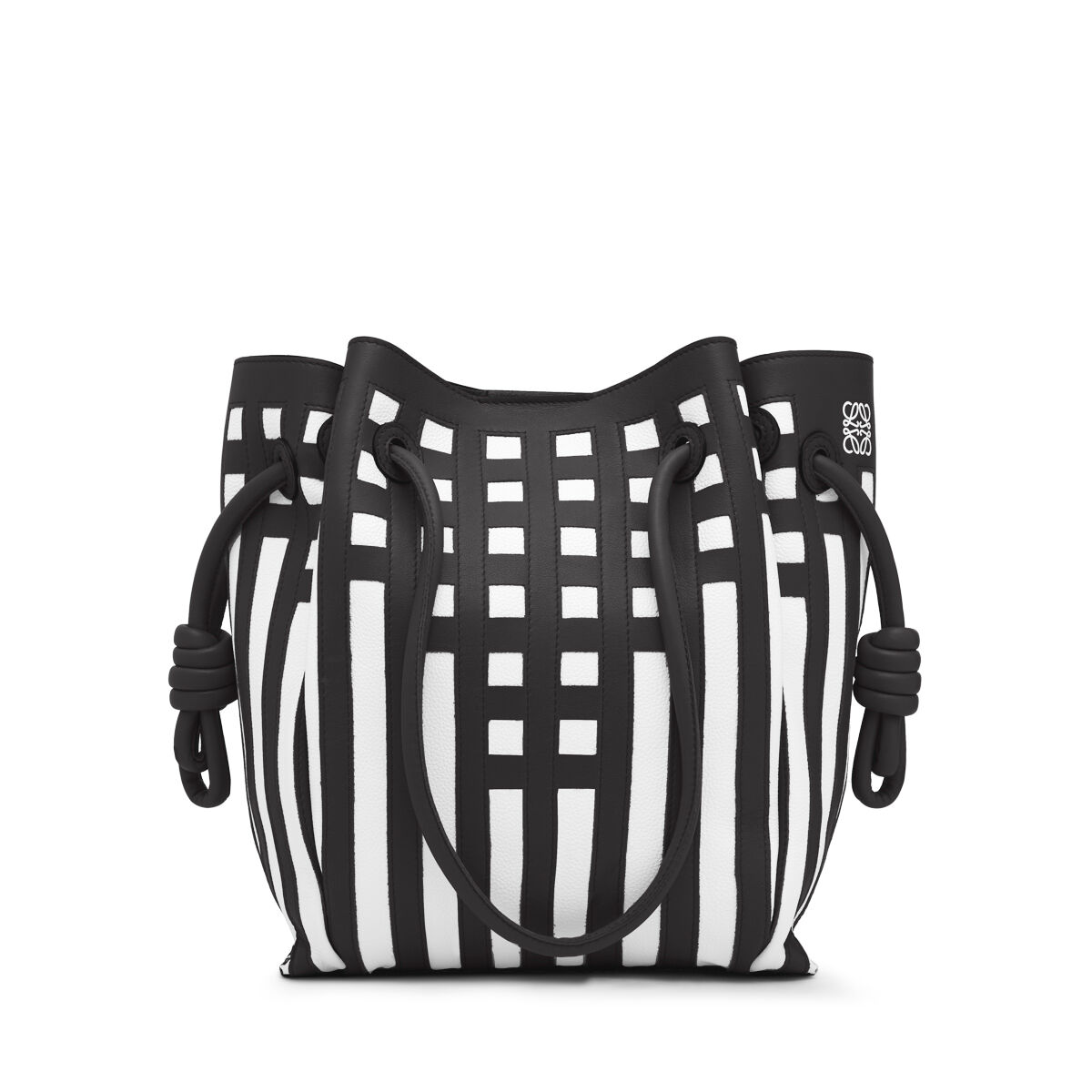 LOEWE Flamenco Knot Tote Grid S Bag 黑色/白色 all