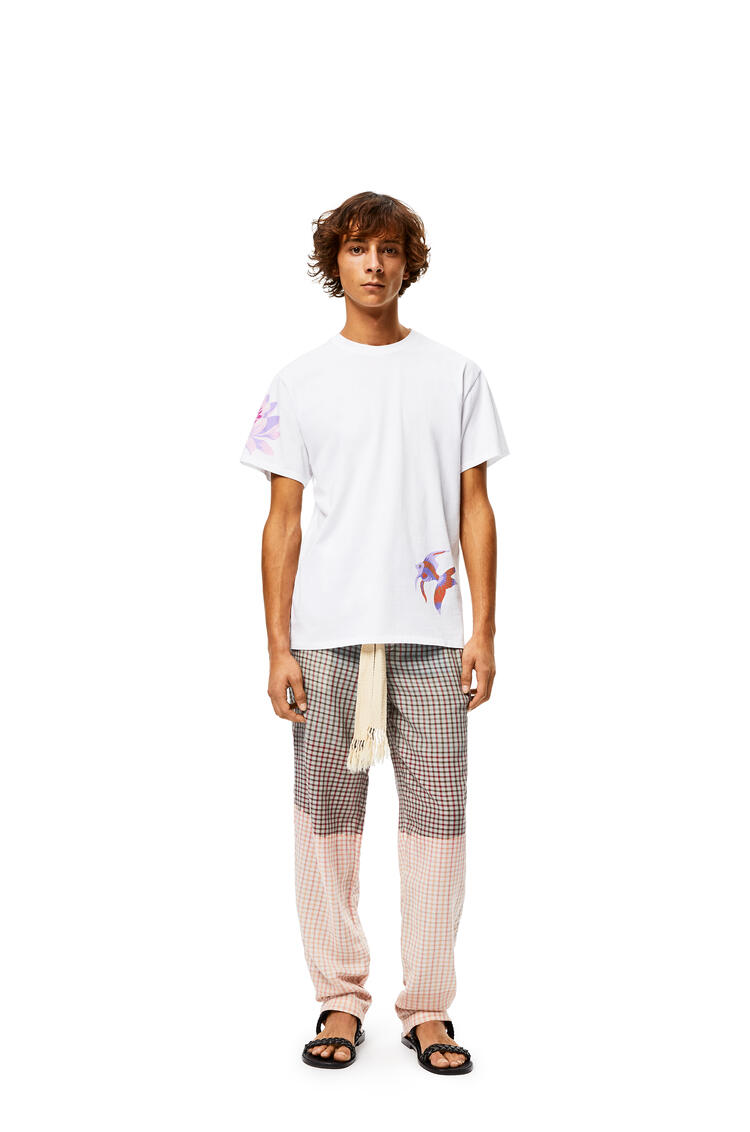 LOEWE Check Pants In Tie Die Cotton Grey/Pink pdp_rd