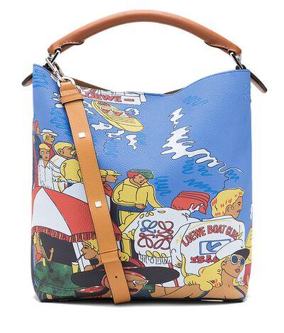 LOEWE T Bucket Holiday Bag Multicolor/Tan front