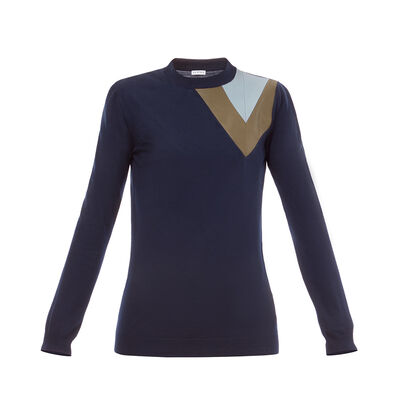LOEWE Leather Insert Sweater Navy Blue front