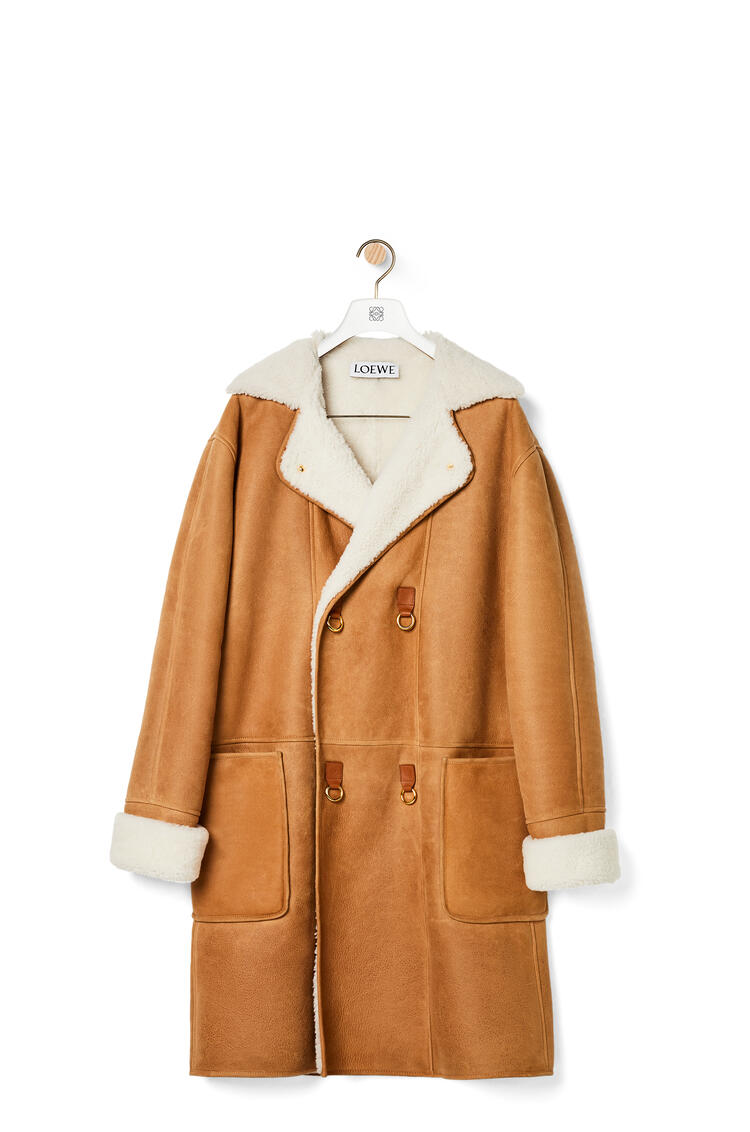 LOEWE Double-breasted coat in shearling Light Brown pdp_rd