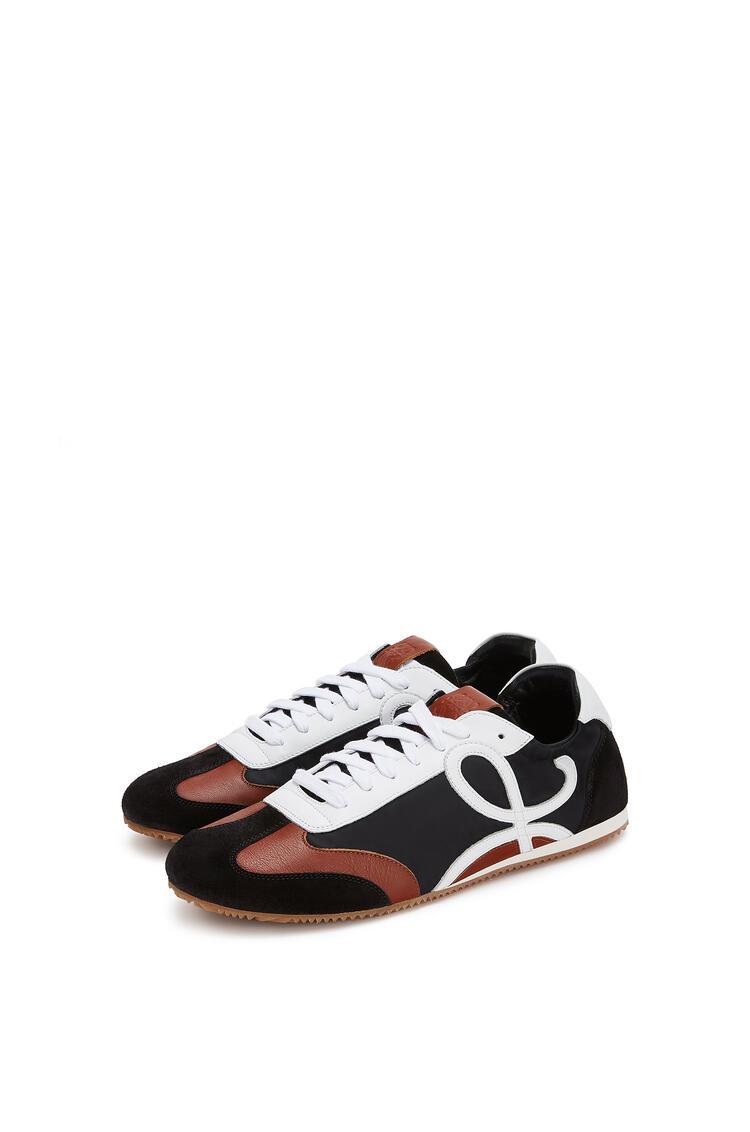 LOEWE Ballet runner in nylon and calfskin Black/White/Brown pdp_rd