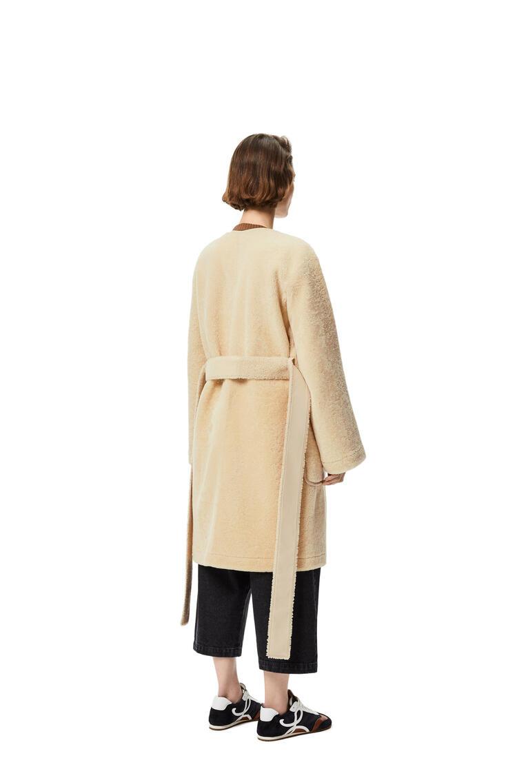 LOEWE Abrigo cruzado en lana de oveja sin cuello Crema/Azul/Morado pdp_rd