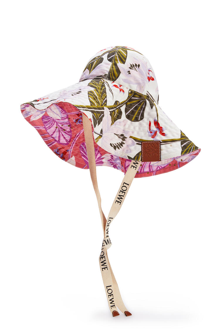 LOEWE Sombrero De Ala Ancha En Lona Con Estampado De Nenúfare Blanco pdp_rd