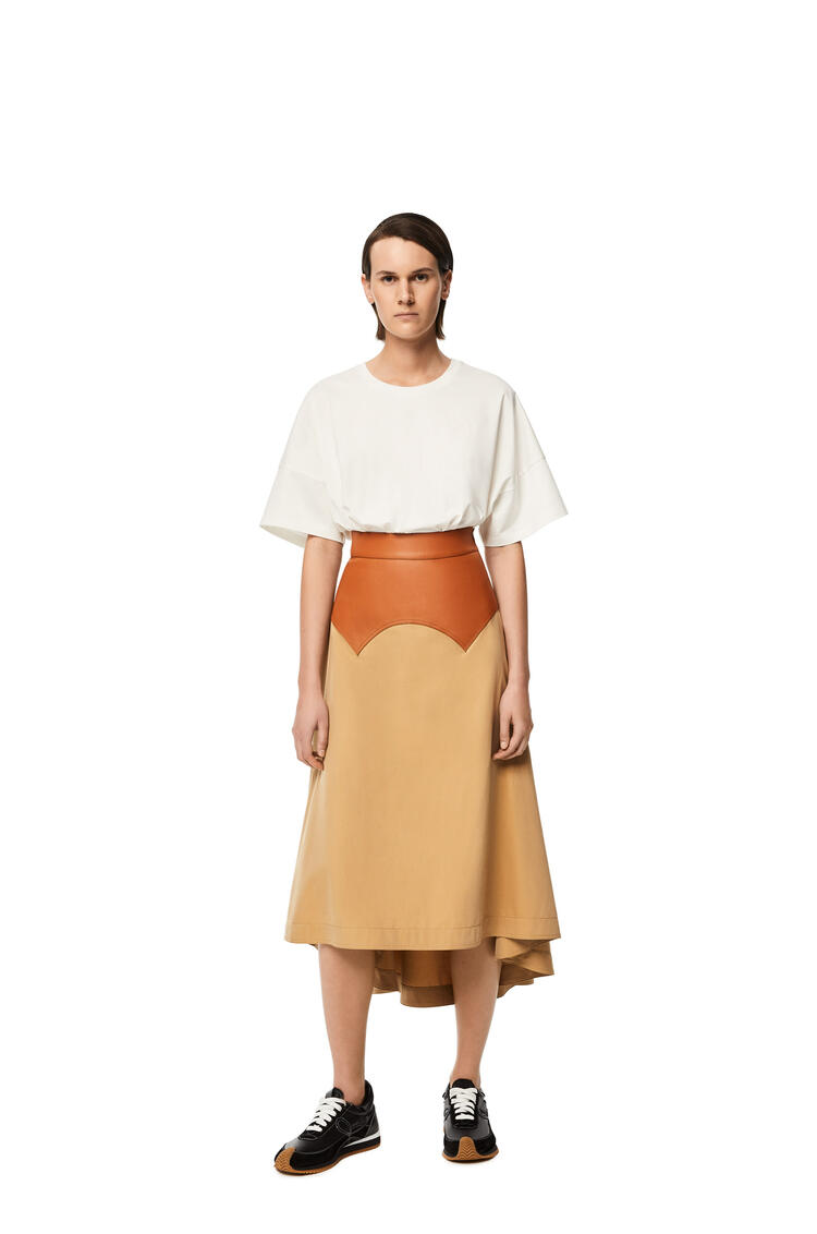 LOEWE Long obi skirt in calfskin and textile Beige/Tan pdp_rd