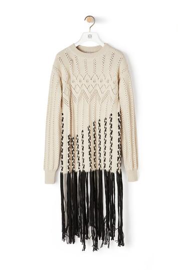 LOEWE Long Woven Fringe Sweater Ecru/Black front