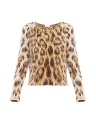 LOEWE Leopard Mohair Sweater Beige Claro/Multicolor front
