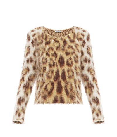 LOEWE Leopard Mohair Sweater Light Beige/Multicolor front