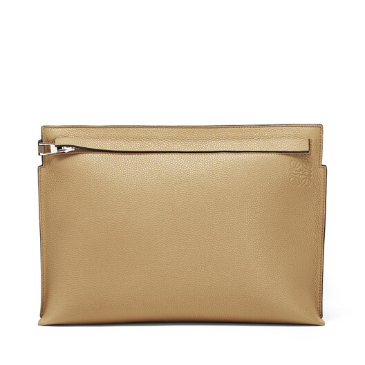 LOEWE T Pouch Bicolor Desert/Dark Taupe front