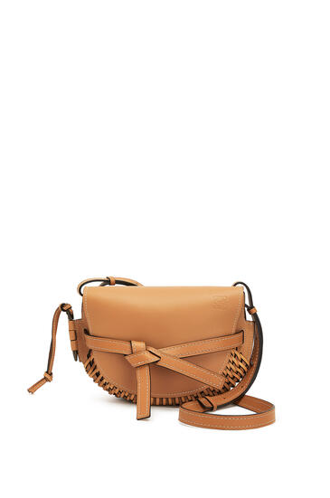 LOEWE Small Gate Bag In Woven Soft Calfskin Light Caramel pdp_rd
