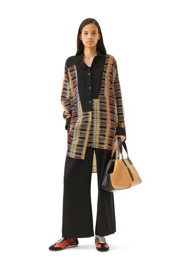LOEWE Long Asym Stripe Check Shirt Black/Multicolor front