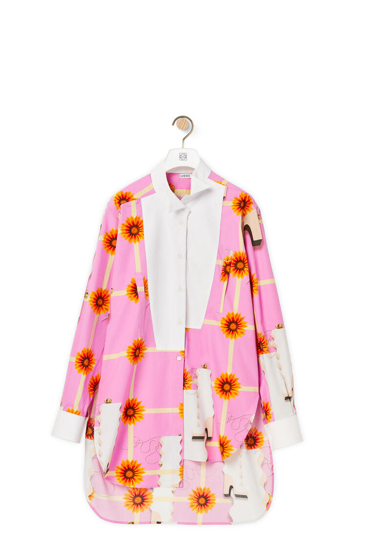LOEWE Camisa larga asimétrica en algodón estampado Multicolor/Blanco pdp_rd