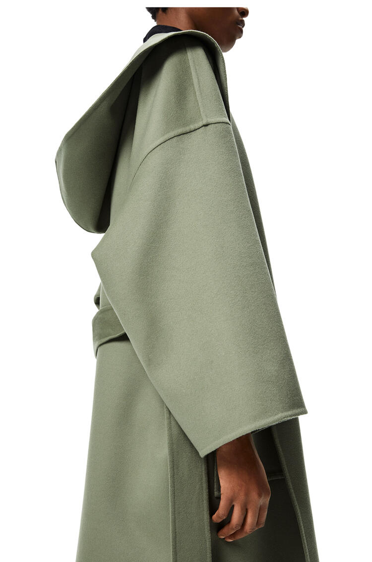 LOEWE Hooded belted coat in wool and cashmere Sage pdp_rd