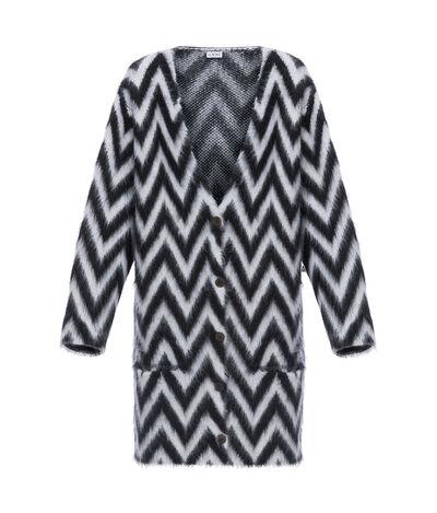 LOEWE Oversize Herringbone Cardigan Black/White front