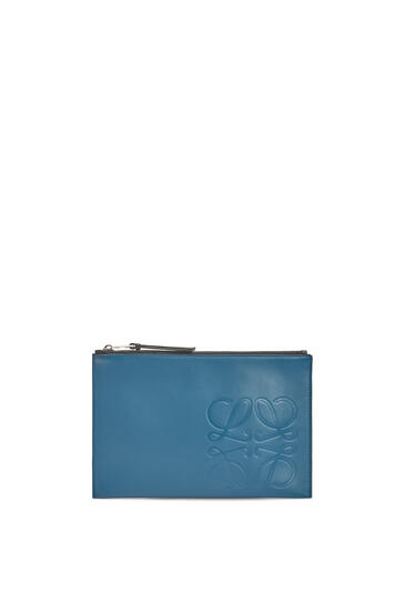 LOEWE Flat pouch in smooth calfskin 靛藍 pdp_rd