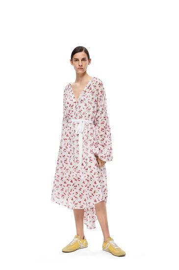 LOEWE Midi shirtdress in flower printed cotton White/Pink pdp_rd