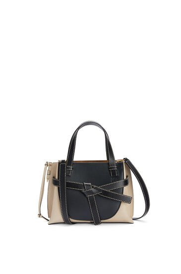 LOEWE Mini Gate Top Handle bag in soft calfskin Midnight Blue/Light Oat pdp_rd