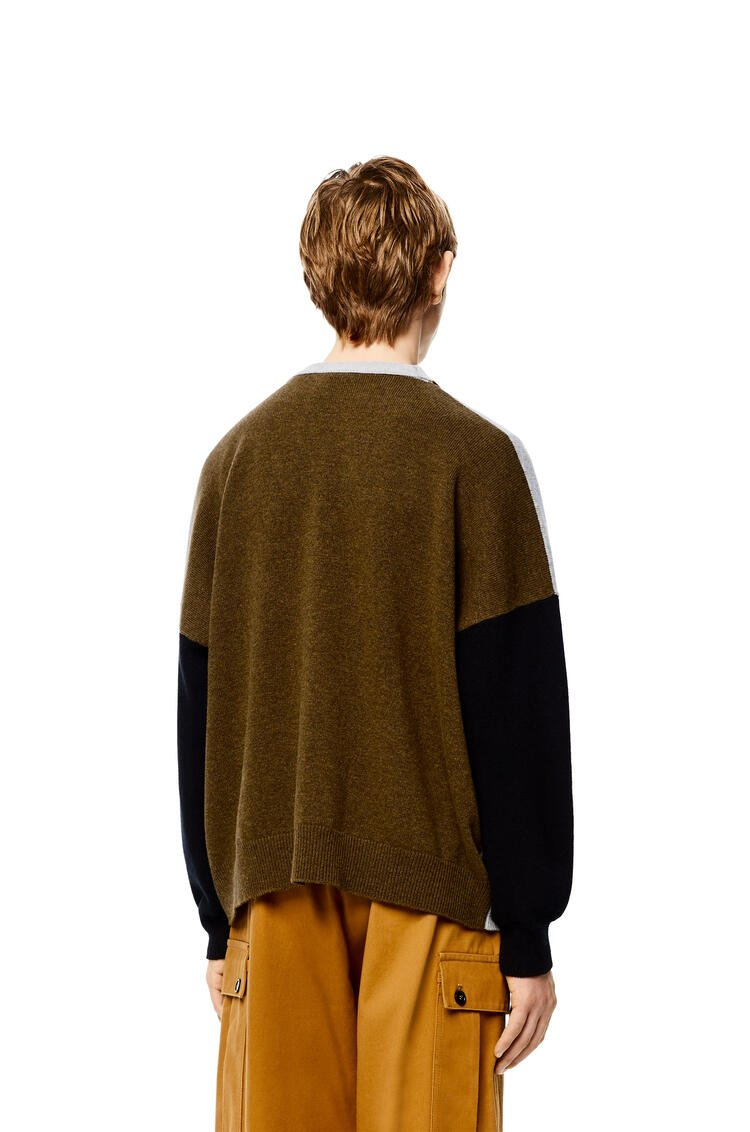 LOEWE Colour block cardigan in wool Nickel/Khaki Green pdp_rd