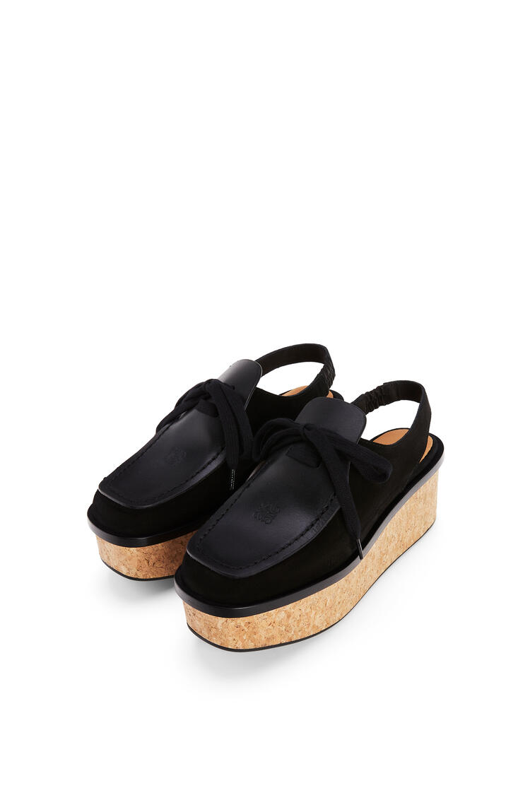 LOEWE Lace up loafer in suede and calfskin Black pdp_rd