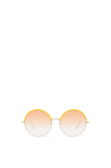 LOEWE Gafas de sol redondas en metal y piel Amarillo/Amarillo Degradado pdp_rd