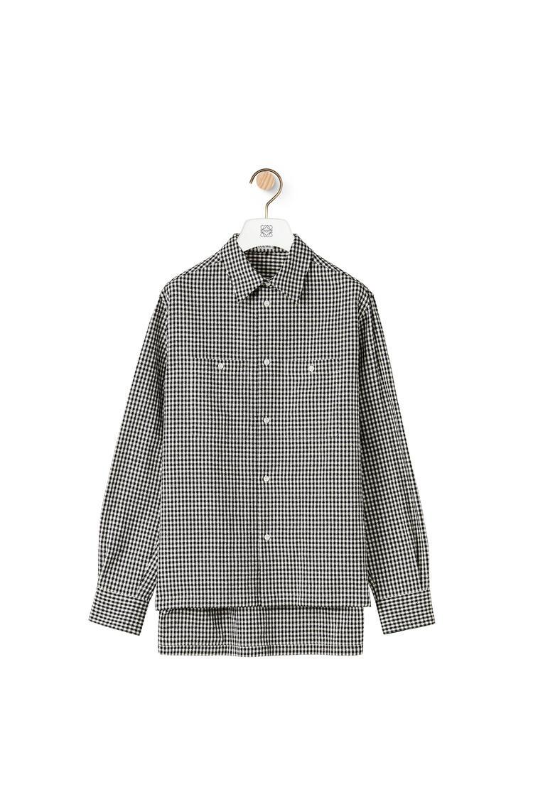 LOEWE Camisa militar en algodón y lino con bolsillo Negro/Blanco pdp_rd