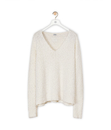 LOEWE V Neck Sweater Blanco front