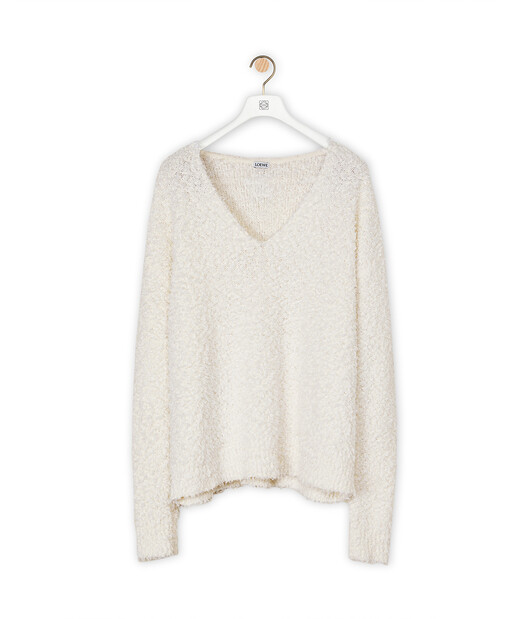 LOEWE Yzzuf V Neck Sweater 白 front