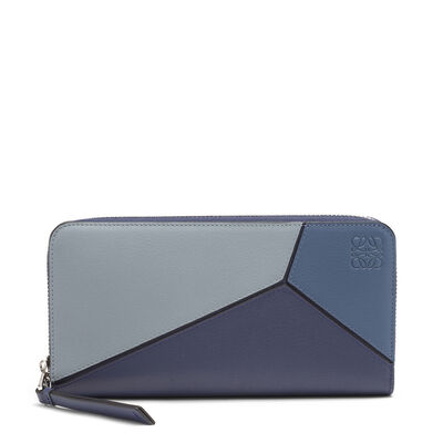 LOEWE Puzzle Zip Around Wallet Varsity Blue Multitone front