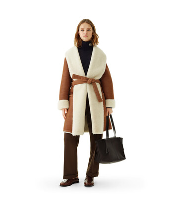 LOEWE Shearling Coat Dark Brown front