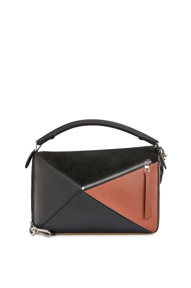 LOEWE Large Puzzle bag in calfskin and suede Black/Tan pdp_rd