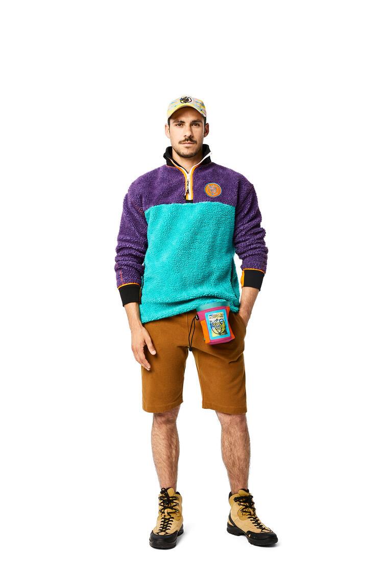 LOEWE Fleece zip sweater in cotton Light Blue pdp_rd