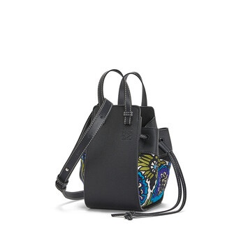 LOEWE Hammock Drawstring Floral Mini Bag Peacock Blue front