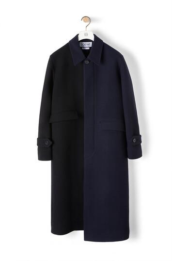 LOEWE Asymmetric Coat Navy Blue/Black front