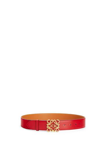 LOEWE Cinturón en piel de ternera natural con Anagrama Rojo Tostado/Oro pdp_rd