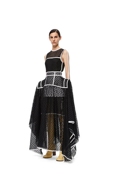 LOEWE Basque lace skirt in polyester Black pdp_rd