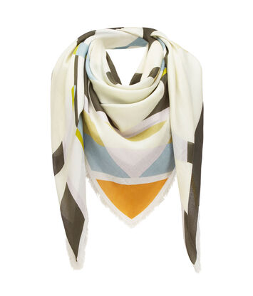 LOEWE 140X140 Scarf Stripe Anagram Verde Oscuro front