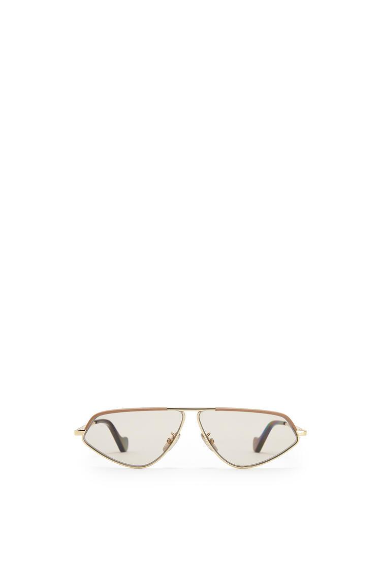 LOEWE Leather Geometric Sunglasses Hazelnut pdp_rd