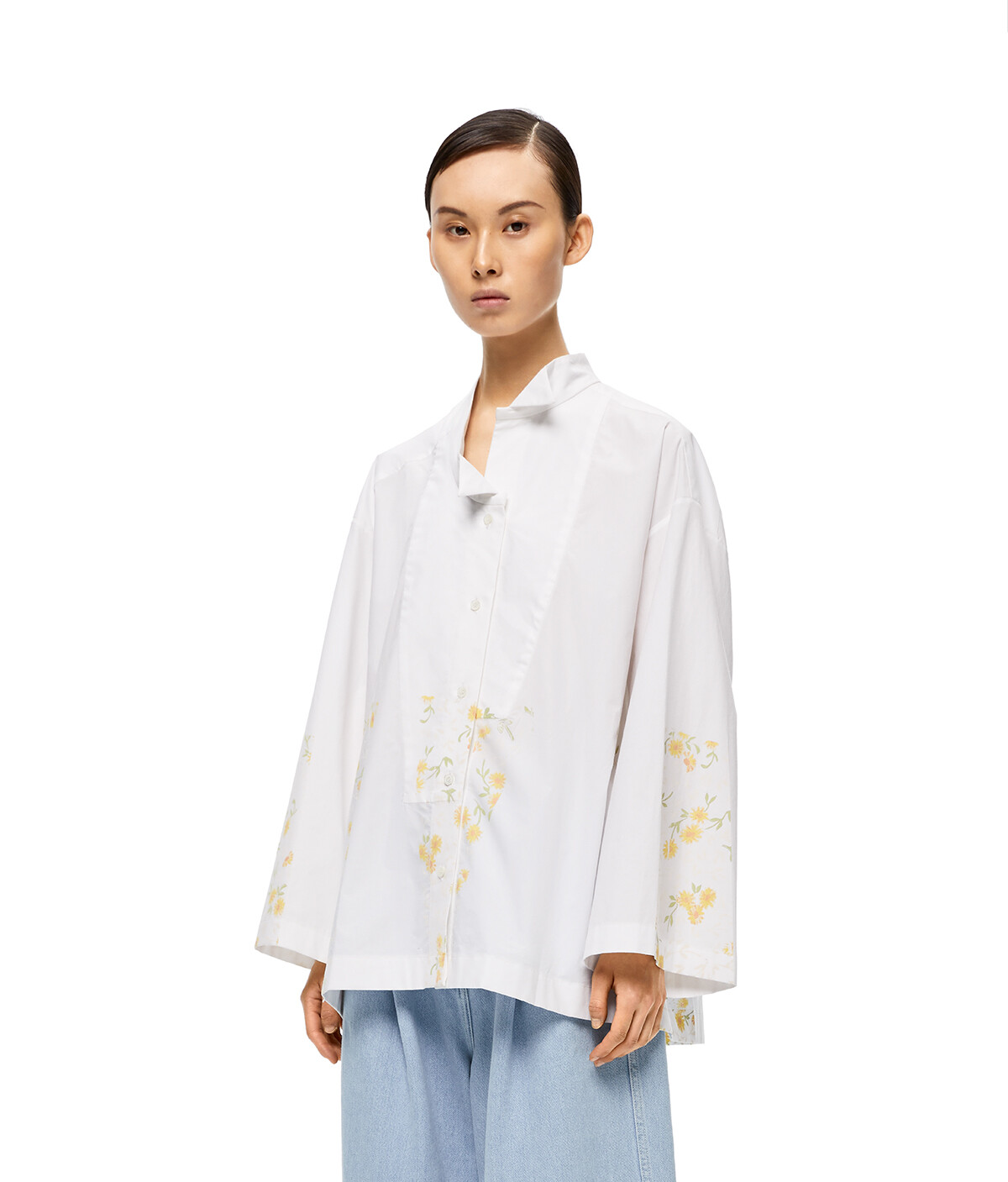 LOEWE Flower Print Asym Ov Shirt White front