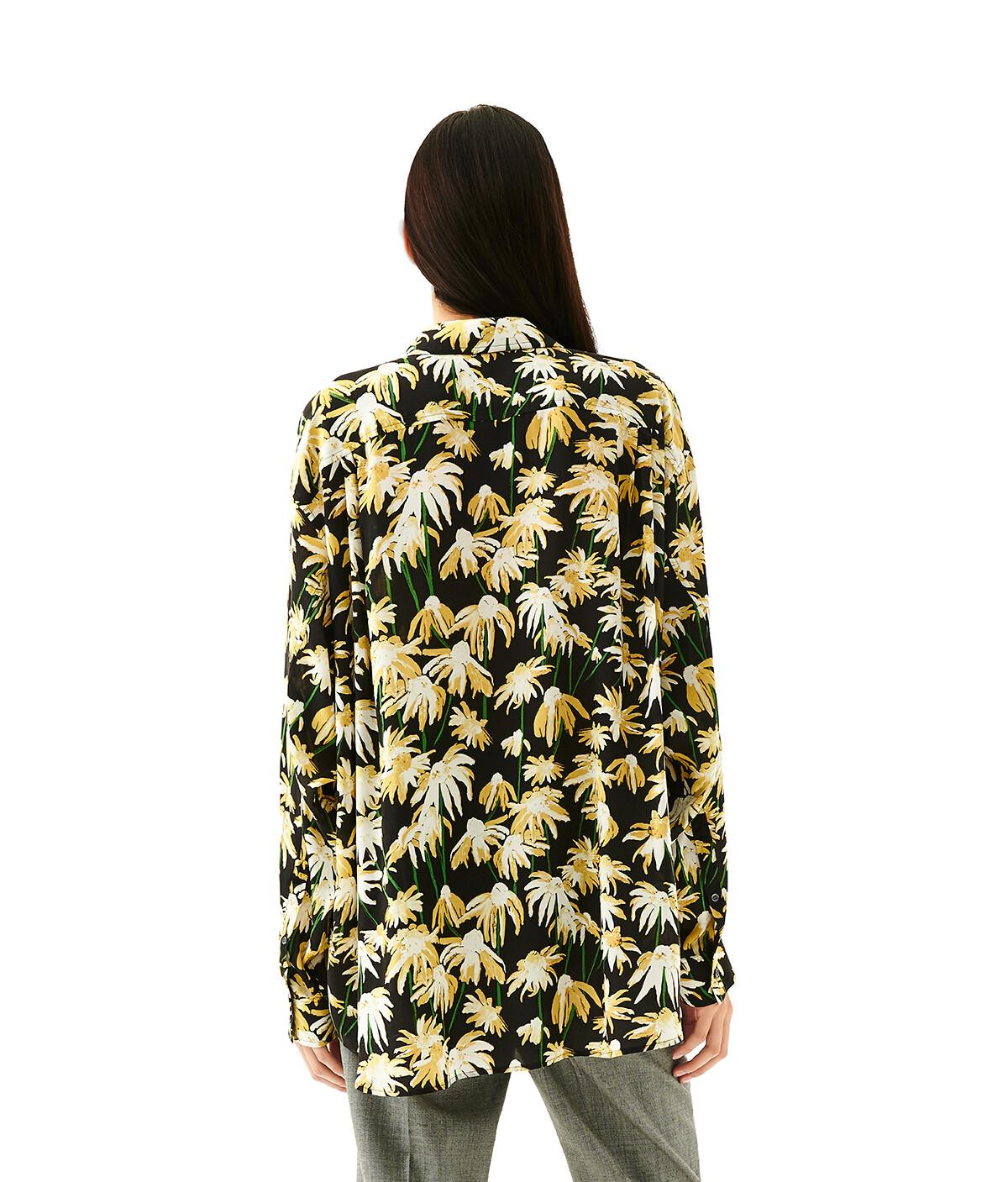 LOEWE Daisy Print Oversize Shirt Black/Yellow front